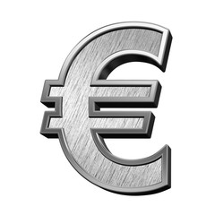 Euro sign from brushed stainless steel alphabet set, isolated on white. 3D illustration.