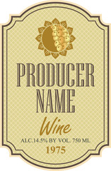 wine label with a picture of the sun and bunch of grapes