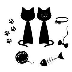 Cats theme silhouette elements set, vector illustration