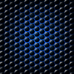 Abstract blue background with hexagons. Vector illustration