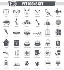 Vector Pet animal black icon set. Dark grey classic icon design for web.
