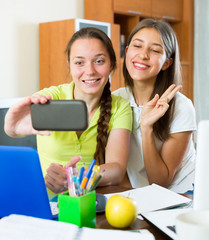 girls taking a selfie photo