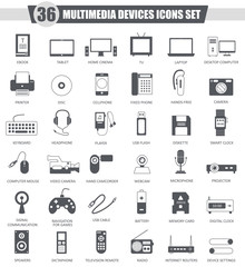 Vector Multimedia devices black icon set. Dark grey classic icon design for web.