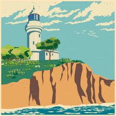 lighthouse on a cliff old poster
