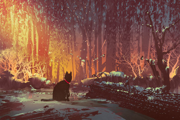 lost cat in the forest with mystic light,illustration painting