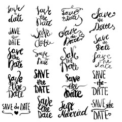 Big Vector set  Save The Date lettering Isolated for greeting cards.