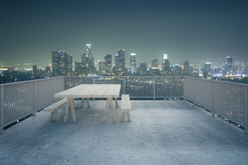 Concrete balcony night city view