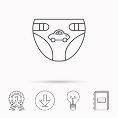 Diaper with car icon. Child underwear sign.