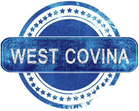 west covina grunge blue stamp. Isolated on white.