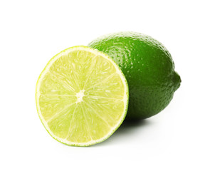 Fresh limes, isolated on white