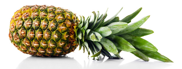 Ripe fresh pineapple, isolated on white Wall mural