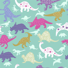 Cute Pattern of colorful different dinosaur