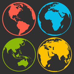 Set of earth planet globe logo icons for web and app