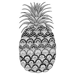 Line art design of pineapple for coloring book for adult, logo, t shirt design, flyer, tattoo and so on