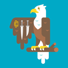 Flat design eagle with weapons