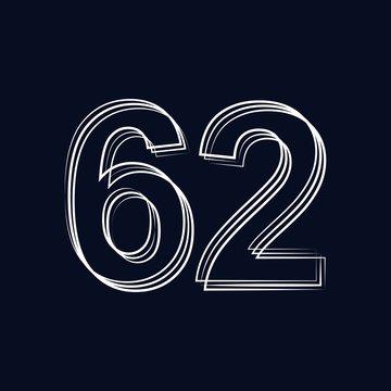 number 62 outline storke