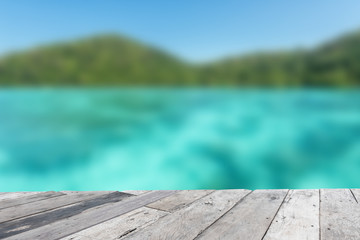 Wood floor top on blue sea background