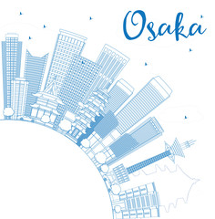 Outline Osaka Skyline with Blue Buildings and Copy Space.