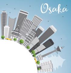 Osaka Skyline with Gray Buildings, Blue Sky and Copy Space.