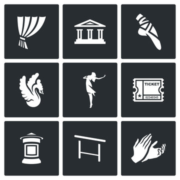 Vector Set of Ballet Icons. Curtain, Theater, Pointe, Swan, Ballerina, Ticket, Poster, Barre, Applause