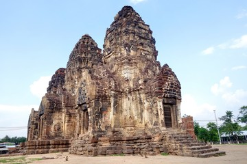 Phra Prang Sam Yod ,Lopburi, Thailand. The compound comprises three prangs linked to one another. It was made of laterite and decorated with beautiful stucco relief, Bayon style of Khmer art.