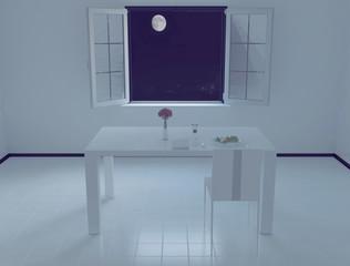table near the open window, 3d