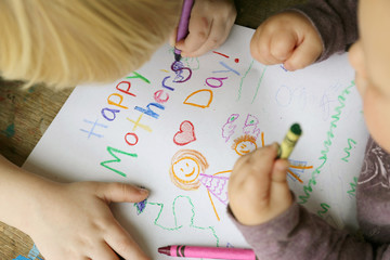 Children Coloring Happy Mother's Day Card