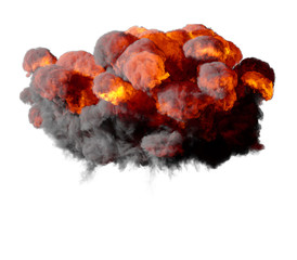 3D illustration of explosion fire cloud