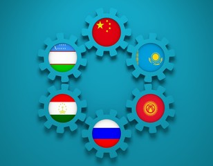 Shanghai Cooperation Organisation members national flags on gears