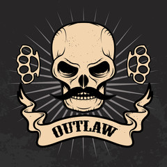 Outlaw. Skull with moustache