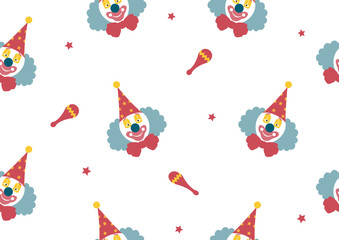 pattern seamless of Clown face on white backgrouds,Vector illustrations