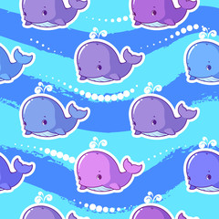 Vector seamless pattern with whale.
