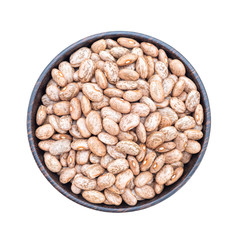 Brown pinto beans  in bowl isolated on white background
