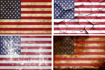 America flag collection. 4 different flags on white background