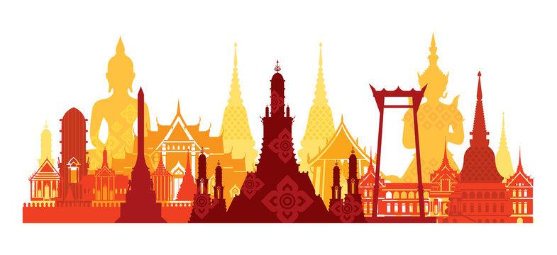 Thailand Landmark Skyline, Travel Attraction, Traditional Culture