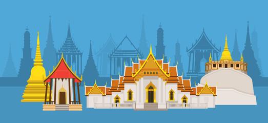 Thailand Temple or Wat Landmark, Skyline City Background, Travel Attraction