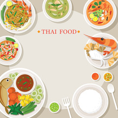 Thai Food and Cuisine Frame, Traditional, Famous Menu, with Rice
