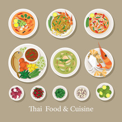 Thai Food and Ingredients Set, Traditional, Famous Menu