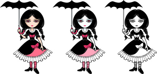 Little goth emo girl with umbrella