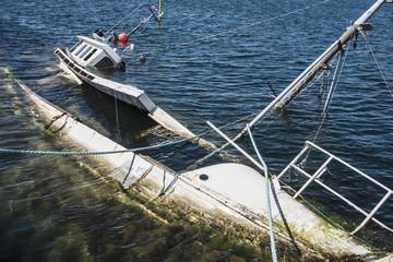 Trawler wreck in sea