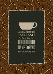 design labels for coffee beans with cup