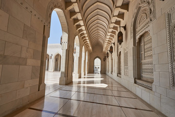 Sandstone cladded walls and floors in a mosque