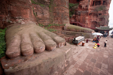 One of the world's largest Buddha statue in Leshan, Sichuan, China (it is carved out of mountain and 71 meter tall)