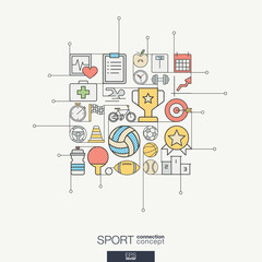 Sport integrated thin line symbols. Modern color vector concept, with connected flat design icons. Abstract background illustration for training, tennis, bicycle, soccer, rugby, fitness concept