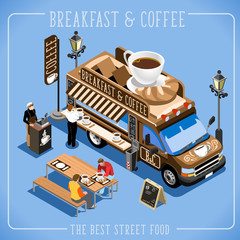 Espresso Breakfast Coffee Food Truck Delivery Master. Street Food Chef Web Template. 3D Flat Isometric Vehicles Food Truck Infographic Elements Isolated Vector Image.
