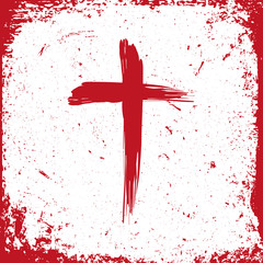Jesus Christ logo. Cross painted brushes