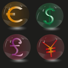 Picture four glass spheres and signs currencies in the world