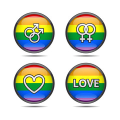 LGBT pride badges with rainbow flag and gay, lesbian, heart and love symbols vector illustration