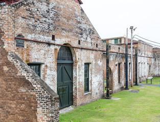 Old Brick Warehouse with Green Door