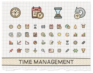 Time management hand drawing line icons. Vector doodle pictogram set. color pen sketch sign illustration on paper with hatch symbols, schedule, alarm, event, calendar, graphic, plan, date, bell.
